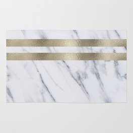 Smokey marble and gilded striped accents Rug
