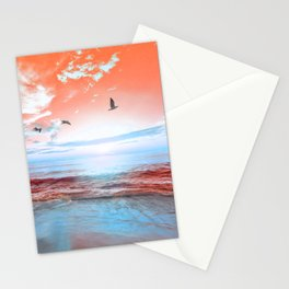 The Orange Sunrise in Sea Side Stationery Cards