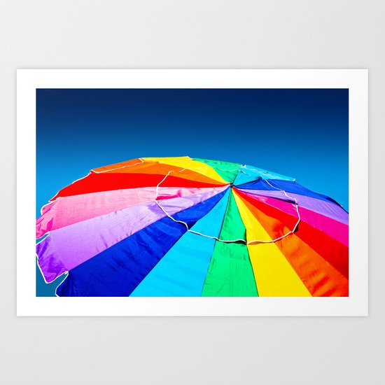 Rainbow Beach Umbrella Art Print
