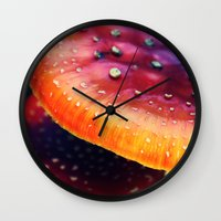mushrooms Wall Clocks featuring mushrooms by JoanaRosaC