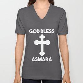 God Bless Asmara Habesha Eritrea Gift Idea graphic Unisex V-Neck