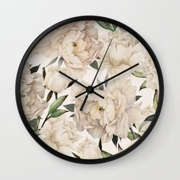 Peonies Pattern Wall Clock
