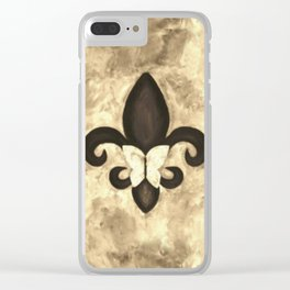 Sepia Gold and Brown Fleur de Lis with Butterfly Clear iPhone Case