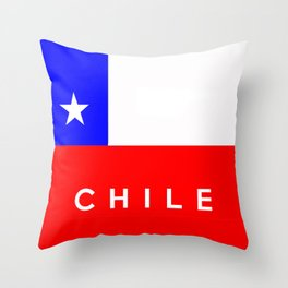 Chile country flag name text Throw Pillow