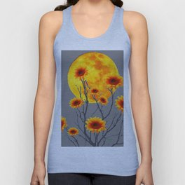 Red Gold Color Fantasy Sunflowers  Flowers Moon  Art Unisex Tank Top