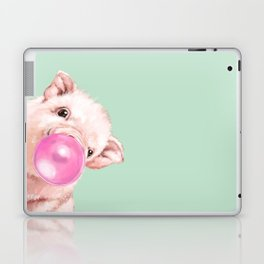Bubble Gum Sneaky Baby Pig in Green Laptop & iPad Skin
