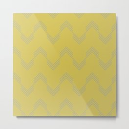 Simply Deconstructed Chevron Retro Gray on Mod Yellow Metal Print