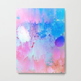 Abstract Candy Glitch - Pink, Blue and Ultra violet #abstractart #glitch Metal Print