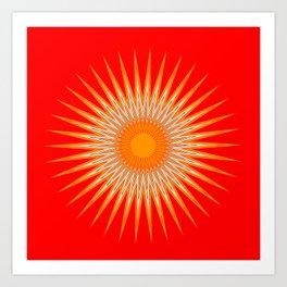 Vibrant Red Sun Mandala Art Print