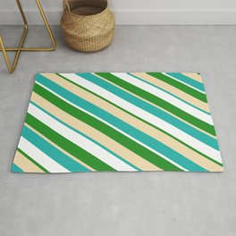 Forest Green, Tan, Light Sea Green & White Colored Stripes/Lines Pattern Rug