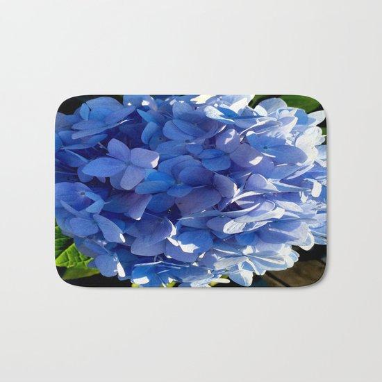 Blue Hydrangia Flower Blossom Bath Mat