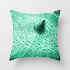 Jade Green Silk Chinese umbrella Throw Pillow