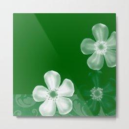 Retro 70s Flowers Green Metal Print