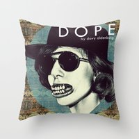dope Throw Pillows featuring DOPE by Davy Oldenburg