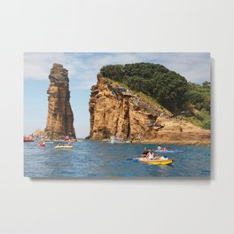 Cliff diving and kayaks Metal Print