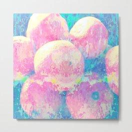 Pink And Blue Oranges Abstract Fruit Splash Metal Print