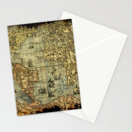 Vintage Old World Map Stationery Cards