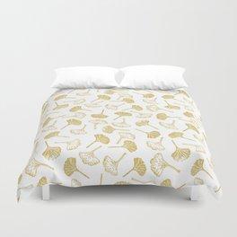 Ginkgo Biloba linocut pattern GLITTER GOLD Duvet Cover