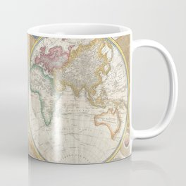 Samuel Dunn Wall Map of the World in Hemispheres c.1794 Coffee Mug