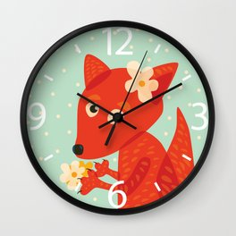 Cute Fox And Flowers Wall Clock