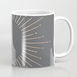 Simply Sunburst in White Gold Sands on Storm Gray Coffee Mug
