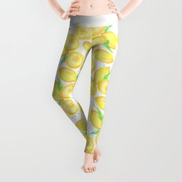 Sunshine yellow orange blue watercolor lemon fruit pattern Leggings
