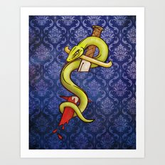 Knife and Snake tattoo print Art Print