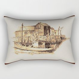 Moored at the Fish House Rectangular Pillow