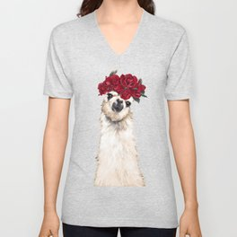 Llama with Red Roses Crown Unisex V-Neck