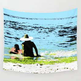 Day at the beach with Dad Wall Tapestry