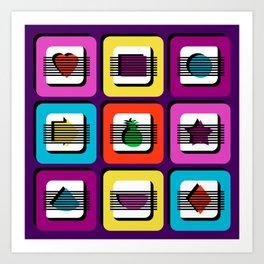 Boxed Illusion - Bright Bold Multi Colors Art Print