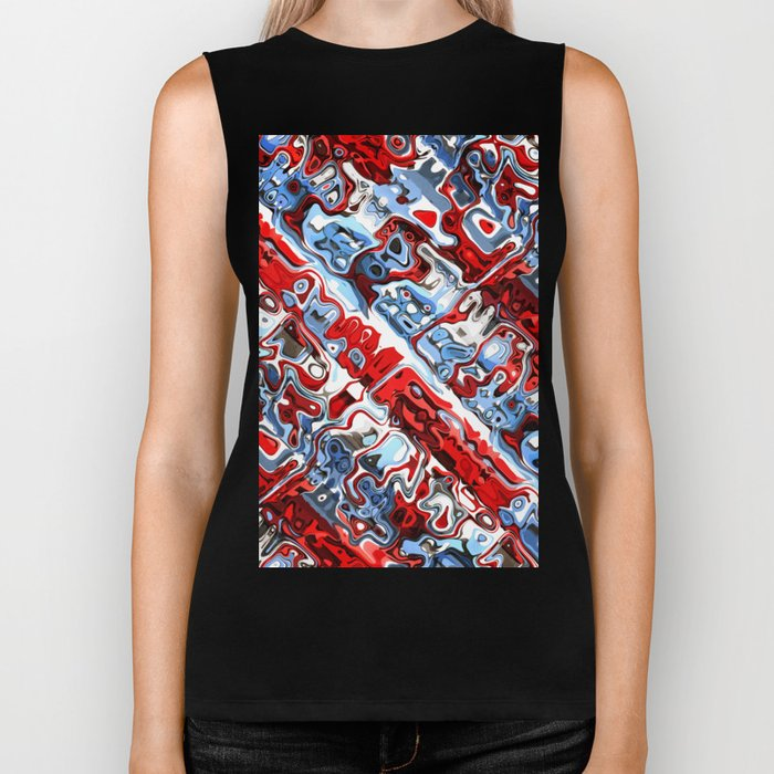 Red White And Blue Abstract Biker Tank