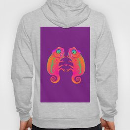 Chameleon. Two neon chameleon on a purple background. Hoody