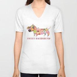 Sweet Dachshund, Watercolor Donut Pattern Illustration Unisex V-Neck