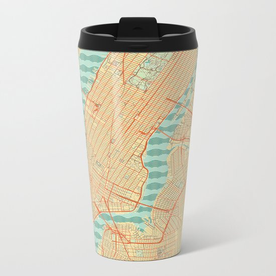 New York Map Retro Metal Travel Mug