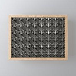 Facing Suns - Silver and Black - Classic Vintage Art Deco Pattern Framed Mini Art Print