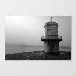 misty harbour lighthouse Canvas Print
