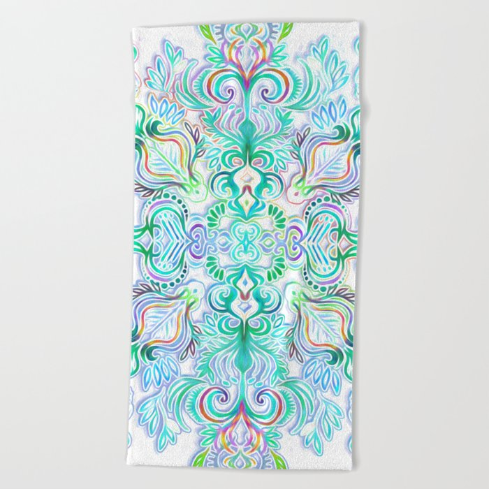 Painted Rainbow Doodles Beach Towel