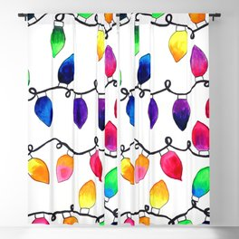 Colorful Christmas Holiday Light Bulbs Blackout Curtain