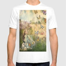 Release of the butterflies White MEDIUM Mens Fitted Tee