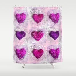 Pink Passion colorful heart pattern Shower Curtain