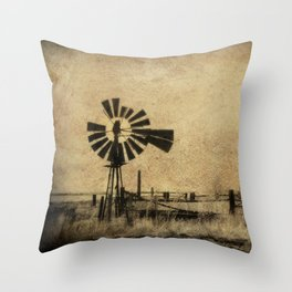 Old Windmill • Sepia • Western • Infrared • Texture Throw Pillow