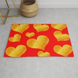 Curline hearts-Red Rug