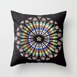 Stained glass cathedral rosette Throw Pillow