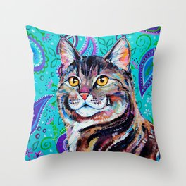 Tabby Cat on Paisley Throw Pillow