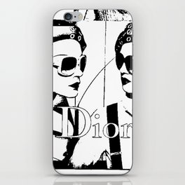 Sketched Fashion19 White on Black iPhone Skin