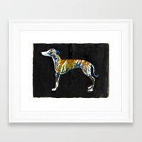 greyhound Framed Art Prints featuring Greyhound by Julianna Brion ~ Illustration