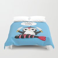 chef Duvet Covers featuring Penguin Chef by Freeminds