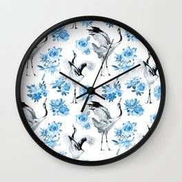 watercolor pattern with cranes and flowers of roses, lilies and lotuses Wall Clock