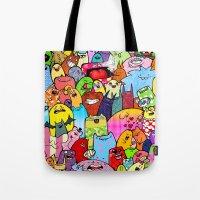 random Tote Bags featuring Random by Raquel Amo Art